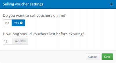 Selling vouchers online settings
