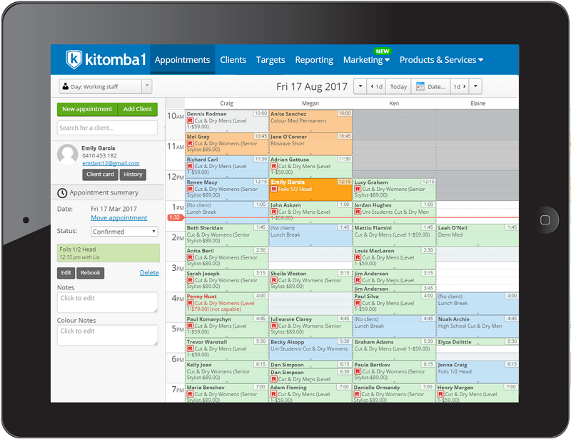 Appointment Book from Kitomba Spa and Salon Software for ...