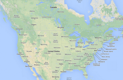 usa canada map google