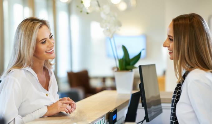 Selling vouchers at salon front desk