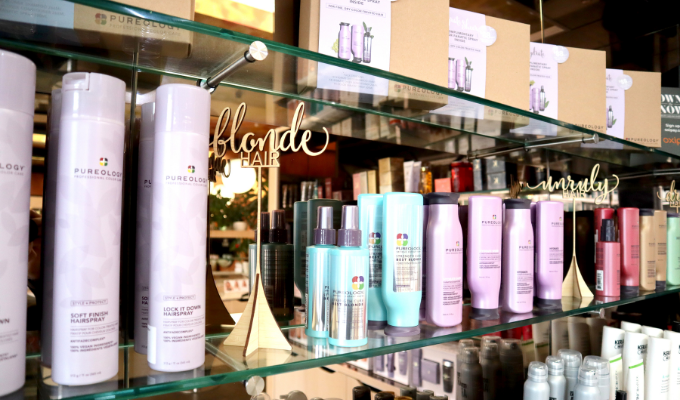 Beautiful hair products on display in salon